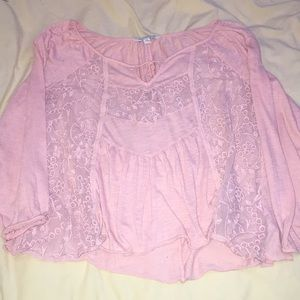 Pink sweatshirt with lace front